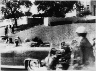 View of the grassy knoll at Dealey Plaza