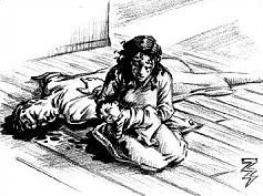 Illustration of Mrs. Rosie Cortimiglia holding her dead child in her arms