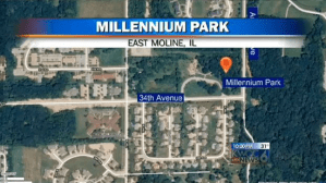 Map showing location of Illinois park where police found razor blades attached to playground equipment