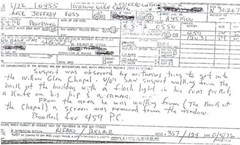Police report filed during the 1972 mortuary breakin attempt