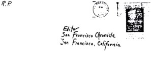 Envelope for Red Phantom letter sent to San Francisco Chronicle on July 8, 1974 (postmarked San Rafael, California)
