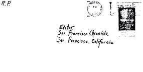 Envelope for Red Phantom letter sent to San Francisco Chronicle on July 8, 1974 (postmarked San Rafael, California)