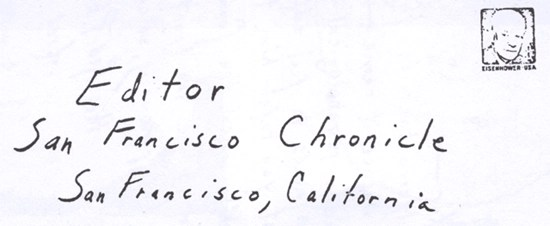 Envelope for SLAY letter sent to San Francisco Chronicle on February 14, 1974 (unknown postmark)