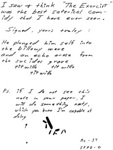 Exorcist letter sent to San Francisco Chronicle on January 29, 1974 (postmarked San Francisco)