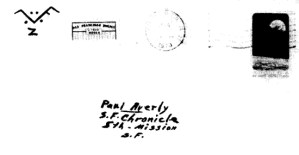 Envelope for Halloween card sent to Paul Avery, reporter for the San Francisco Chronicle on October 27, 1970 (postmarked San Francisco)