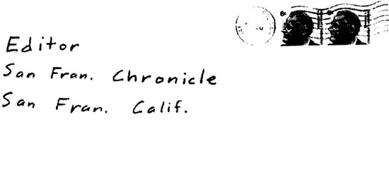 Envelope for dragon card sent to San Francisco Chronicle on April 28, 1970 (postmarked San Francisco)