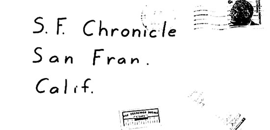 Envelope for map letter sent to San Francisco Chronicle on June 26, 1970