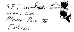 Envelope for letter sent to San Francisco Examiner on July 31, 1969 (postmarked San Francisco, California)