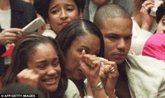 """Jason Simpson at the moment O.J.'s """"not guilty"""" verdict was announced"""