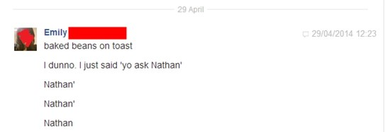 Emily contacting Nathan