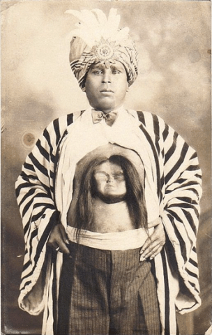 "Victorian-era postcard featuring ""The Rajah with a second face"""