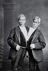 Legendary Siamese twins (conjoined twins) performers Chang and Eng