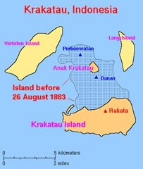 The Krakatau island before and after the volcanic eruption of 1883