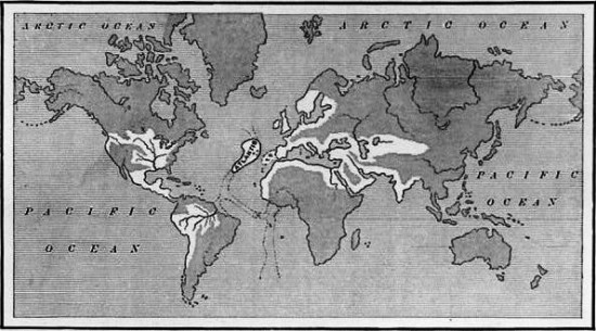 A map showing the supposed extent of the Atlantean Empire. From Ignatius L. Donnelly's Atlantis: the Antediluvian World, 1882