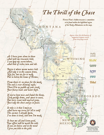 Overlay I did of Wikipedia's Pinus edulis range map and Forrest Fenn's map of the treasure area from his book
