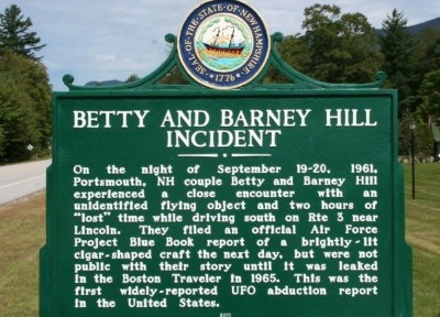 Historical marker marks the site of the Betty and Barney Hill abduction