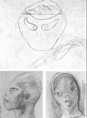 """Barney Hill, under hypnosis, drew the above (top) sketch of the """"leader"""" of the alleged abductors. Bottom: Two sketches by David Baker are based on two interviews Baker had with Barney, one under hypnosis"""