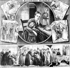 A depiction by The Illustrated Police News of the trial and conviction of Kate Webster.
