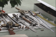 Some of the bladed weapons found inside the woman's home