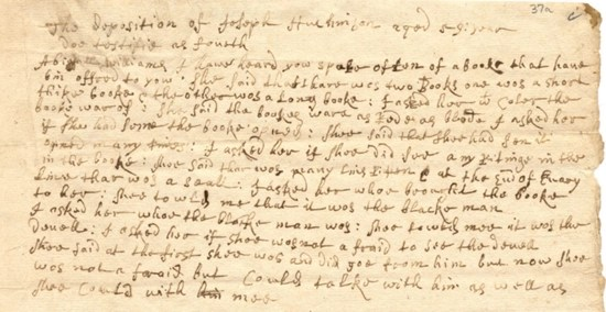 The deposition of Joseph Hutchinson against Abigail Williams