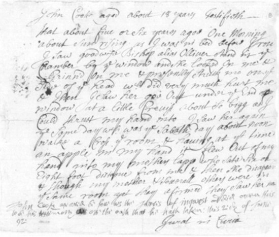 Testimony of John Cook v. Bridget Bishop