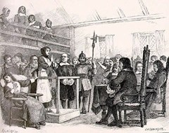 Martha Corey begs for her life at the Salem Witch Trials