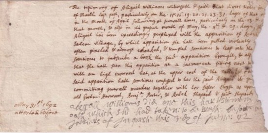 Testimony of Abigail Williams against Rebecca Nurse