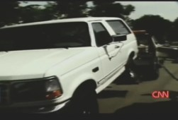 OJ Simpson's white Bronco being towed away for evidence