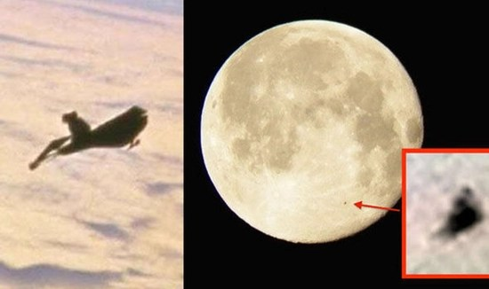 Black Knight Satellite passing between International Space Station and the Moon