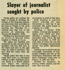Newspaper headline: Slayer of journalist sought by police