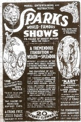 Advertisement for Sparks World Famous Shows (circus)