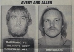 Newspaper clipping showing comparison of Steven Avery and Gregory Allen