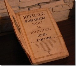 Inside cover of Rituale Romanum - the official exorcism book for the Roman Catholic Church