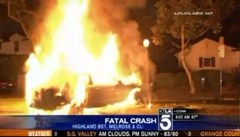 Michael Hastings' automobile in flames