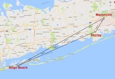 Map showing distance between Gilgo Beach, Bittrolf's home in Shirley, New York, and Manorville