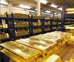 Gold bars inside the Bank of England