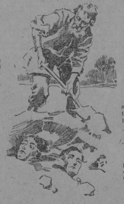 Newspaper article showing cult member burying family alive