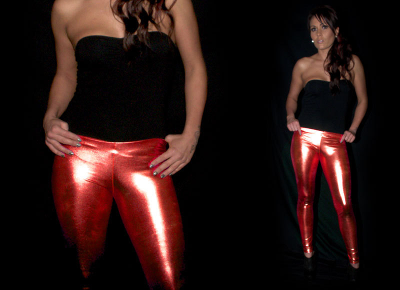 Red Metallic Leggings