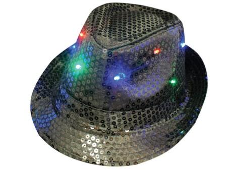 Flashing Fedora Hat - Sequin Black