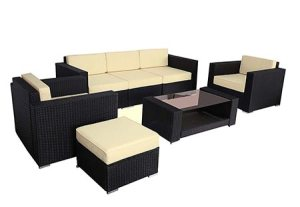 Polar Aurora 7pcs Outdoor Patio Furniture Rattan Wicker Sectional Sofa Chair Couch Set Deluxe (Black)