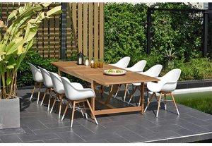 Brampton 9 Piece Outdoor Eucalyptus Extendable Dining Set