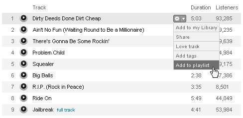 Einen Song zu seiner Last.fm-Playlisthinzufügen - Klick 2