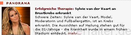 Sylvie van der Vaart erfolgreich an Brustkrebs erkrankt?