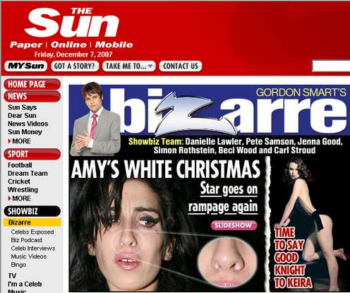 Amy Winehouse mit Koks in der Nase - Schnappschuss von thesun.co.uk (c) The Sun