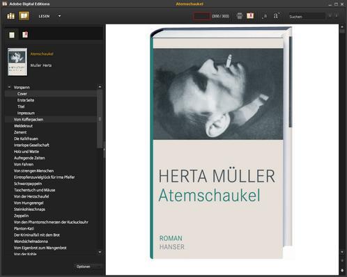 Atemschaukel von Herta Müller, Gewinnerin des Literatur-Nobbelpreises 2009