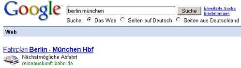 Google-Bahnauskunft Berlin - München