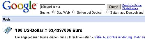 Google-Währungsrechner