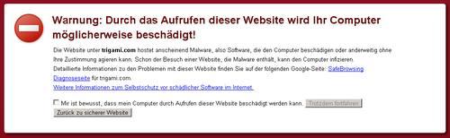 Trigami-Warnhinweis in Google Chrome - Warnung: Durch das Aufrufen dieser Website wird Ihr Computer möglicherweise beschädigt!