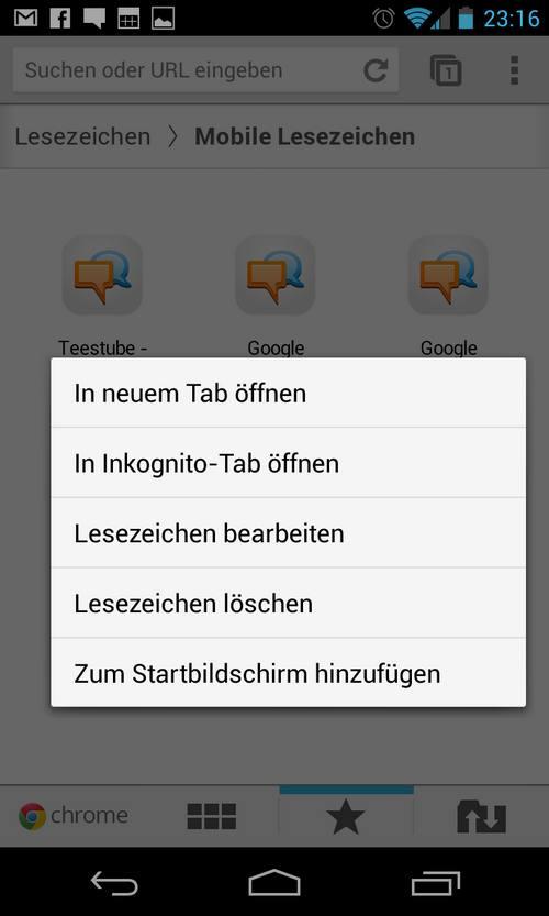 Mobile Lesezeichen in Google Chrome für Android löschen