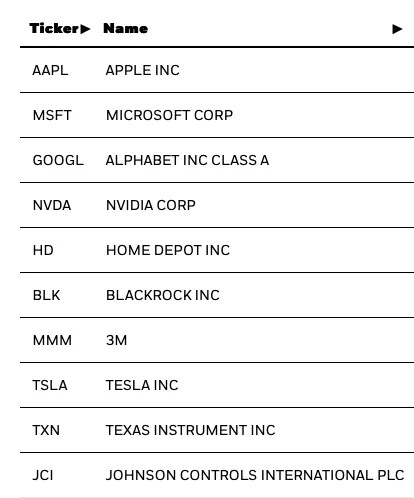 SUSA Top 10 holdings